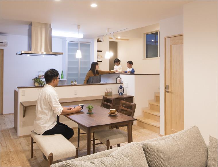 「家族の絆」と「快適性」を重視した空間設計をします。